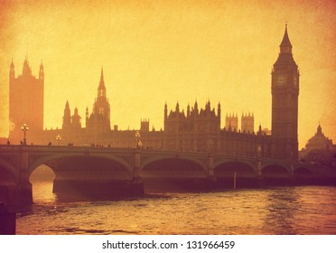 vintage paper. Buildings of Parliament with Big Ben tower. London,  UK