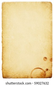 Vintage paper with coffee rings stain. Abstract isolated background with space for text.