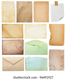 vintage paper collection, isolated in white background, clipping paths.
