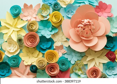 Vintage paper flowers. Pink, Blue, yellow and White flowers paper background pattern lovely style. Rose made from paper.