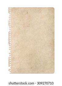 Vintage paper isolated on white. Notebook
