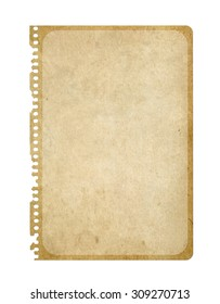 Vintage paper isolated on white. Notebook page