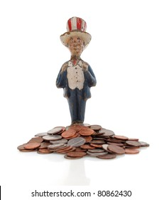 Vintage paper mache Uncle Sam with coins