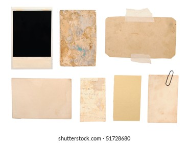 vintage paper notes isolated on white background