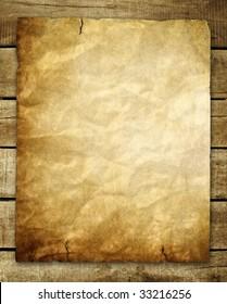 vintage paper on wood background