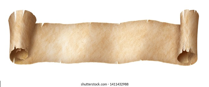 Vintage paper or parchment narrow long scroll isolated on white