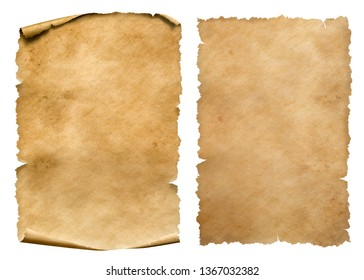 Vintage paper or parchment sheets set isolated on white
