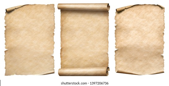 Vintage paper or parchments set isolated on white