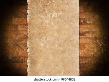 Vintage paper roll on a wooden background