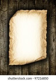 Vintage paper sheet at wood background