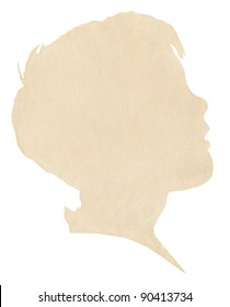 A vintage paper silhouette of a young boy's profile.  Image displays a pleasing paper grain at 100%.  Includes clipping path.