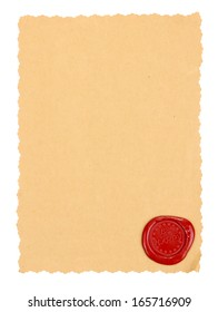 Vintage paper with stamp isolated on white