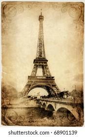 vintage Parisian cards series -Eiffel tower