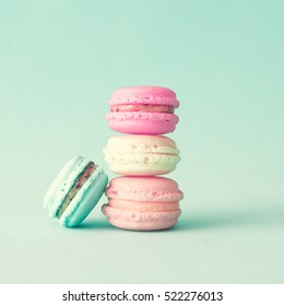 Vintage pastel colored French macaroons or macarons