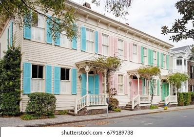 Vintage pastel colored row houses. Savannah, Georgia.