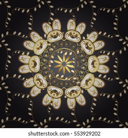 Vintage pattern on black background with golden elements. Raster