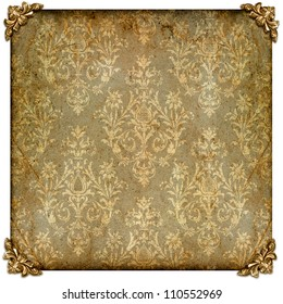 vintage pattern paper with golden photo frame corners isolated on white