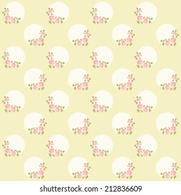 Vintage pattern with wreath of roses in shabby chic style