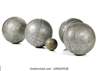 vintage petanque balls isolated on white background