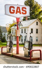 Vintage Petrol Station along a Country Road