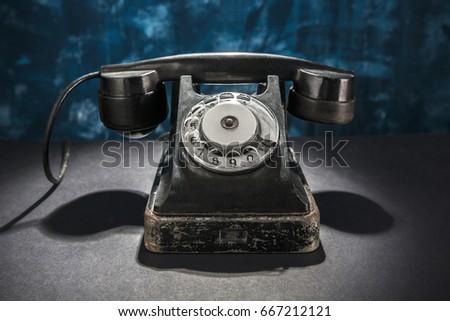 7ac118e3d03 Vintage Phone On Dark Blue Background Stock Photo (Edit Now ...