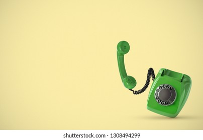 Vintage phone on yellow background