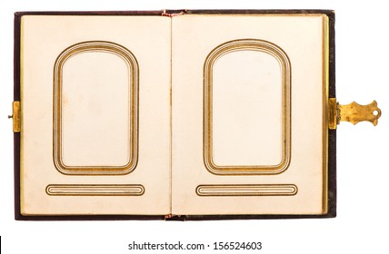 vintage photo album with leather cover. antique book with golden decoration isolated on white background