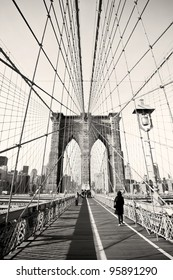 Vintage photo of Brooklyn Bridge in New York, USA