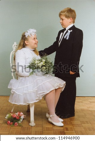 Vintage Photo Of Brother And Sister First Communion Eighties