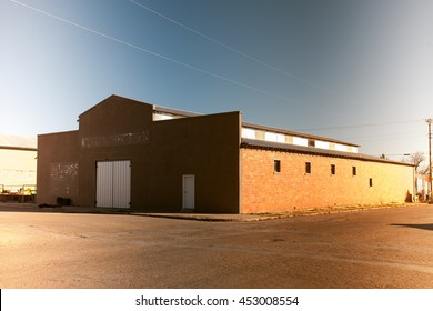 A vintage photo of a building in Marfa, Texas with light-leaks