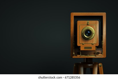 Vintage photo camera on a dark background 3d illustration