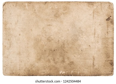 Vintage photo card isolated on white. Used grunge paper background
