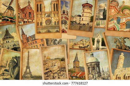 Vintage photo cards collage. European, Middle East, Canada and Russia travel. World tourism concept. Old paper texture. Retro style image
