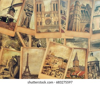 Vintage photo cards collage on the old wood background. European, Middle East and Canada travel. World tourism concept