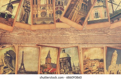 Vintage photo cards collage on the old wood background. European, Middle East and Canada travel. World tourism concept. Warm toned colors. Retro style image with copy space
