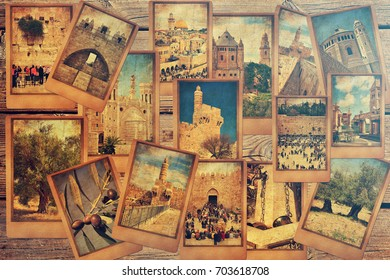 Vintage photo cards on the old wood background. Remembering Jerusalem. Israel tourism and travel concept