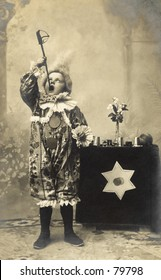 Vintage photo of child sword swallower