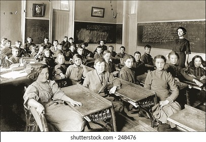 Vintage Photo of a Classroom And Teacher