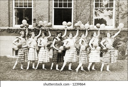 Vintage photo of female cheerleaders