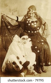 Vintage photo of fortuneteller with clown