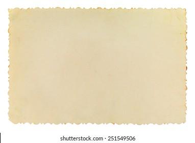 Vintage photo frame with figured edges, on white background