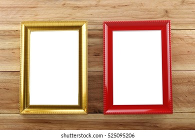 Vintage Photo frame on wooden background and you can input picture or data and text to empty space.