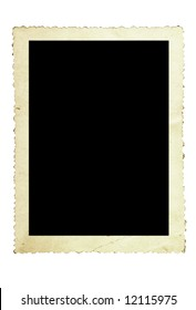 Vintage photo frame, with scalloped edge, isolated on white.
