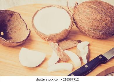 vintage photo of Fresh coconut
