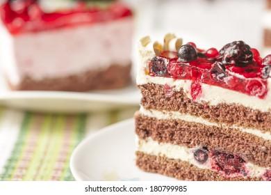 Vintage photo of fruit cake slice