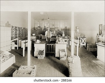 Vintage photo of a Grocer In His General Store
