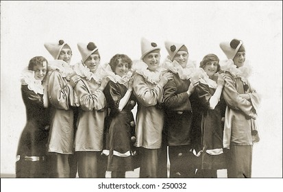 Vintage Photo of a Group of People In Clown Outfits