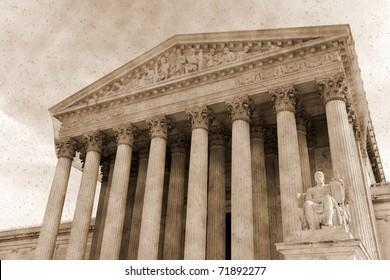 Vintage photo imitation of supreme court  Washington DC