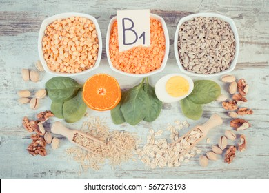 Vintage photo, Ingredients or products containing vitamin B1 and dietary fiber, natural sources of minerals, healthy lifestyle and nutrition