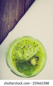Vintage photo of kiwi smoothie